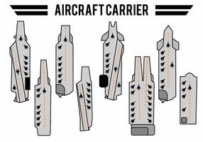 Flat Aircraft Carrier Icon Set