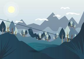 Zipline Landscape Vector Illustration