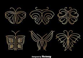 Golden Butterfly Logo Vector Set