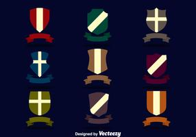 Shield With Ribbon Vector Set