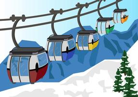 Cable Car In Snow Mountain Vector
