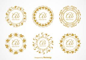 Free Vector Elegant Floral Monograms