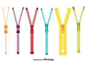 Colorful Zipper Pull Vector Set