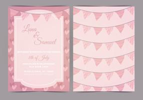 Pink Bunting Vector Wedding Invite