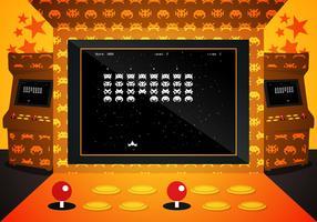 Arcade Invaders Game Illustration Vector