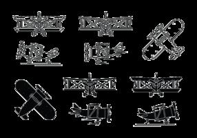 Biplane Icon Set