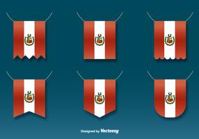 Vector Hanging Flags of Peru Set