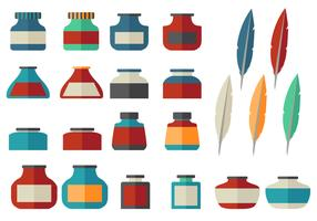 Ink Pot Flat icon vector set