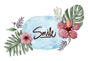 Jungle Flowers Watercolor Vector