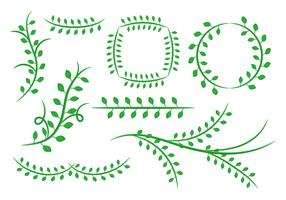 Free Natural Floral Green Leaves Ornament Vector