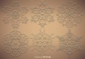Vector Set Of Ornamental Snowflakes