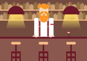 Barman Vintage Illustration Vector