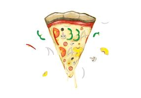 Free Pizza Day Watercolor Vector