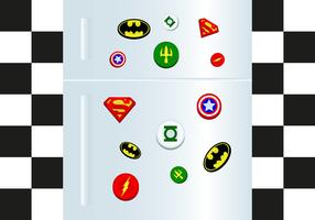 Fridge Magnet Superheros Vector