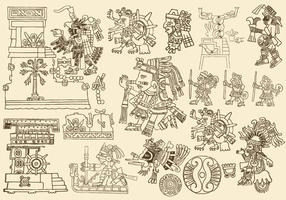 Antique Aztec Drawings