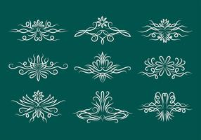 Pinstripe Scrollwork Vector Icons