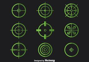 Green Crosshairs Vector Set