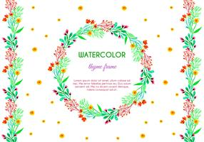 Free Vector Watercolor Thyme Frame and Border