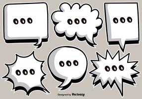 Vector Cartoon White Speech Bubbles