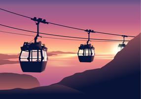 Cable Car at Sunset Vector