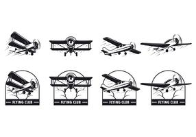 Set Of Biplane Vector