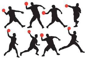 Dodgeball Silhouette with Ball Vectors
