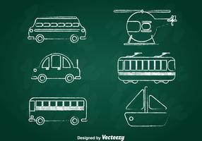 Transportation Chalk Draw Icons Set