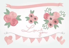 Vector Pink Love Floral Elements