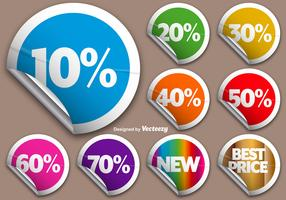 Vector Set Of Colorful Rounded Promotional Stickers