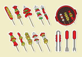 Brochette Skewers Icons Vector