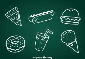 Food Chalk Draw Icons Set