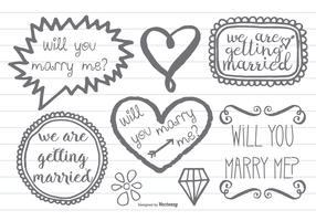 Hand Drawn Style Marry Me Doodles