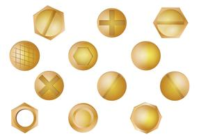 Gold Nail Head Vector Set