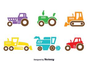 Colorful Tractors Collection Vector