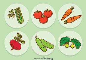 Vegetable Cartoon Icons Vector