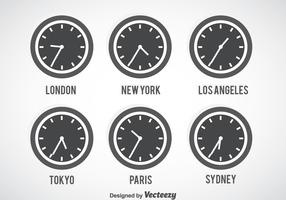 Time Zone Grey Clock Vector Set