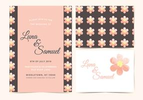 Pink Flower Vector Wedding Invite