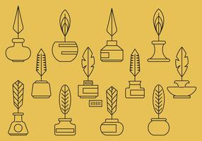 Ink Pot And Feather Icons