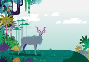 Floral Jungle Kudu Vector