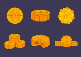 Mooncake traditional chinese bakery vector pack