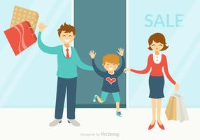 Free Happy Family Shopping Vector