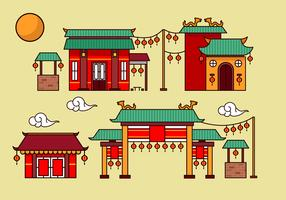 China town decoration building flat vector