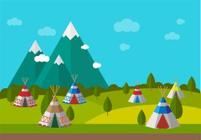 Tipi With Scenery Vector