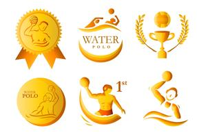 Water polo golden medal vector pack