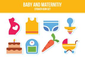 Free Baby and Maternity Sticker Icon Set