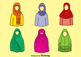 Hand Drawn Muslim Hijab Colletion Vector