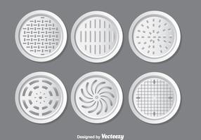 Metal Manhole Covers Vector Set