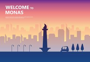 Sunset Monas Illustration