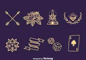 Old School Line Tattoo Collection Vector