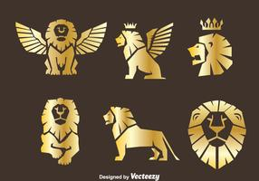 Gold Lion Symbol Vector